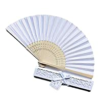 Ankamal Elec 12 Pack Hand Held Fans Silk Bamboo Folding Fans Handheld Folded Fan with Packing Box for Church Wedding Gift, Party Favors, DIY Decoration (White)