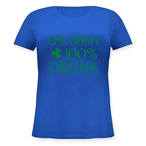 Shirtracer St. Patricks Day - 0% Irish 100% Drunk St Patricks Day - Lockeres Damen-Shirt in Großen Größen mit Rundhalsausschnitt Blau