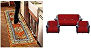 Kuber Industries Bed Side Runner,Floor Runner,Kitchen Mat in Velvet Material (6 * 2 Feet) Light Brown (Code-07