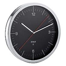 blomus Crono Radio-Controlled Clock, Stainless-Steel, Black, 30.5 x 3 x 30.5 cm
