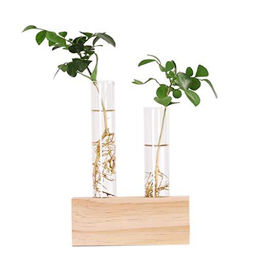 Binchil Tubo de Ensayo de Cristal Vaso Florero Plantas Plantas Hidropónica Soporte de Madera Decorado con Una Flor Decoración para El Hogar