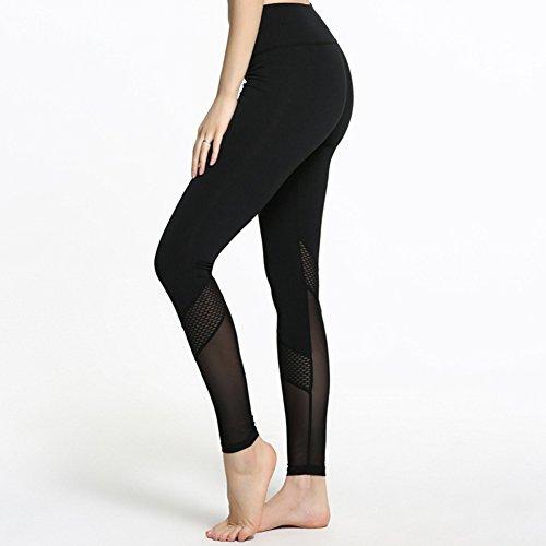 iBaste Pantalon de Sport Taille Haute Patchwork Mesh Push Up Leggings de Yoga Femme Noir Noir