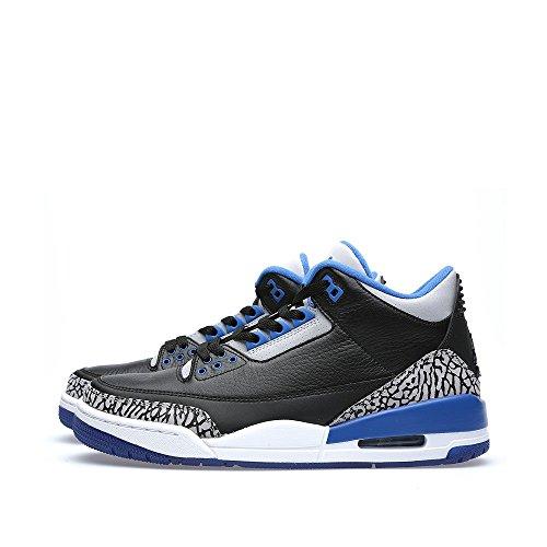 Nike , Herren Schnürhalbschuhe Schwarz / Blau / Grau (Schwarz / Sport Blau-grauer Wolf)