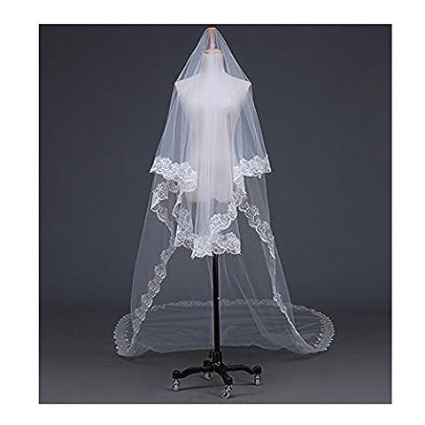 EQLEF® 5 Meter langen Einzelschicht -Stickerei-Spitze-Blumen-Rand-Brautschleier für Hochzeits