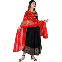 BARBINA Woman's Black Golden Print Rayon UMBRELA Cut Long Ethnic WEAR Gown with Printed Cotton Dupatta for Festive