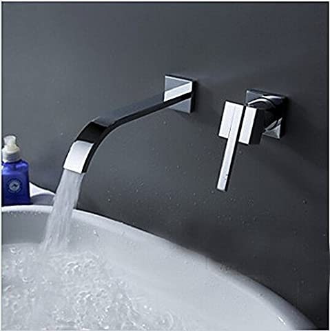 Deluxe Faucet Wallmounted Washbasin Water Tap 2 Piece Set Flush Faucet Cabinet Mixer Bathroom Hot And Cold Water Faucet Lt-322,Chrome