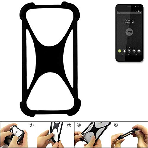 K-S-Trade Handyhülle für Shift Shift4 Schutz Hülle Silikon Bumper Cover Case Silikoncase TPU Softcase Schutzhülle Smartphone Stoßschutz, schwarz (1x)