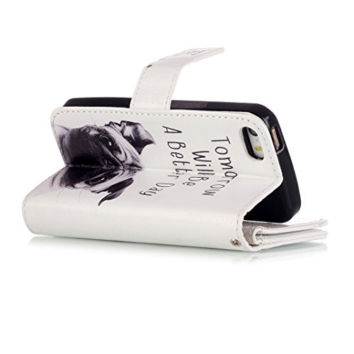 OuDu iPhone 5C Hülle - Foliant Brieftasche Etui mit Kartenschlitz für iPhone 5C PU Leder Schutzhülle Mappen Kasten Tasche Folding Flip Wallet Case Cover Silikon Innere Schale Weiche Bookstyle Handyhül Gut aussehend Hund