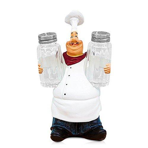 FishMM Kunstharz dekorativen Ornamenten, K�che Decor, Statue, French Chef Figuren mit Salz und Pfeffer Shaker Set