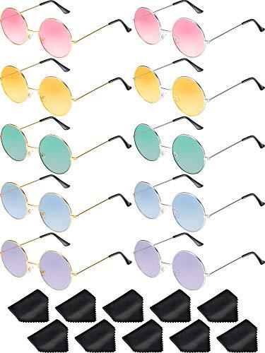 Blulu 10 Paia Occhiali da Sole Retro Rotondo John Hippie Stile Anni '60 Occhiali da Sole Occhiali Colorati (Cornice in argento dorato)