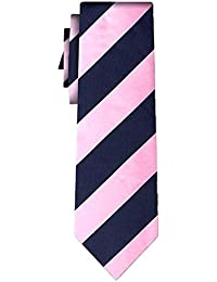 cravate soie rayée stripe L pink navy