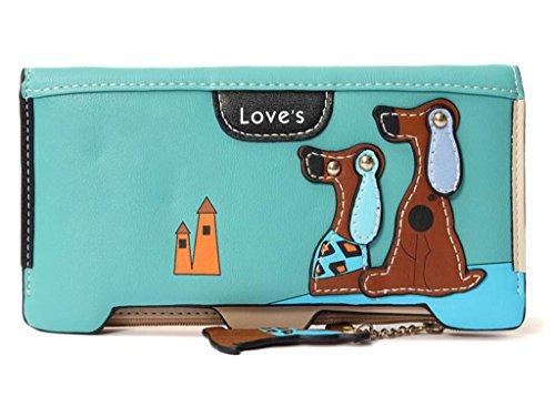 mineroad da donna Lovely cucciolo di cane in pelle PU pieghevole con doppia cerniera allungata Portafogli Purse, Blu, Taglia
