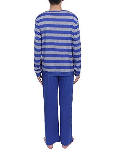 Aibrou Herren Schlafanzug Pyjama Baumwolle Lang Zweiteilig Nachtwäsche Set Langarm Rundhals Z-Blau