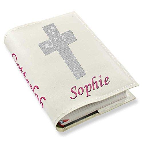 Gotteslob Gotteslobhülle Kreuz 1 silber Kunstleder mit Namen bestickt weiß (weiß)