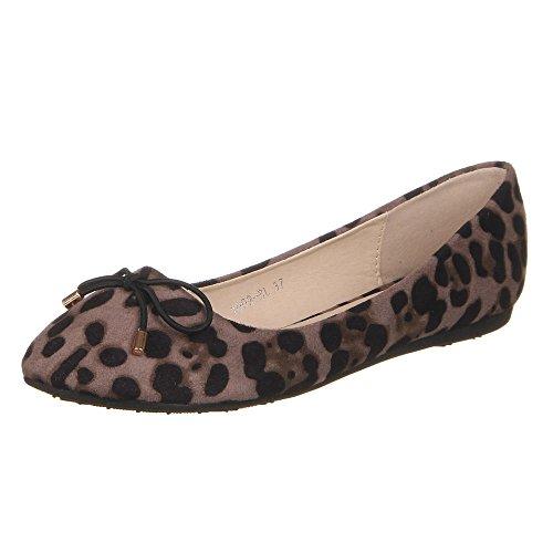 Damen Schuhe, 1009-BL, BALLERINAS Schwarz Multi