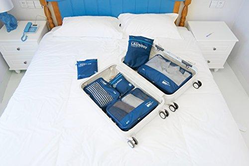 DoubleVillages- Reise Würfel / Reise organizer Packing Cubes/Koffer organizer Packtaschen /Kleidertaschen Packwürfel Set /Packwürfel Reise Organisator / Wäsche Gepäck Organisator / Wäschebeutel Reise Kulturtasche / Gepäck Veranstalter ( Grau6Pcs)