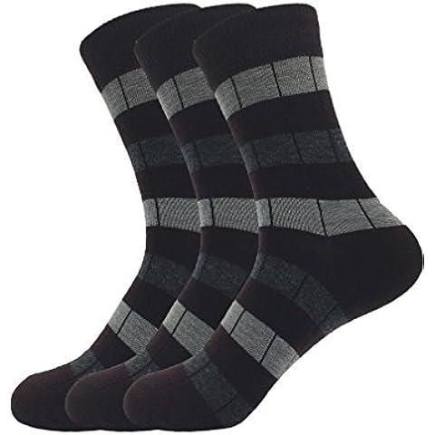 Zando da uomo misto cotone a coste Vestito Plaid Blocco calzini formali.