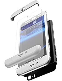 JAWSEU Funda Compatible con iPhone 5S/5/SE, 360 Grados Cuerpo Completo Protección Carcasa con Cristal Templado Luxury 3 in 1 Duro PC + TPU Bumper Rubber Caso Anti-Rasguños Protectora Carcasa