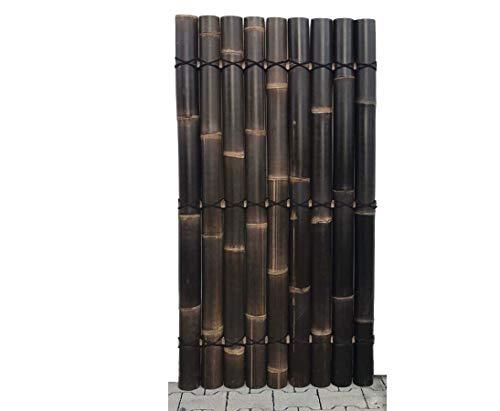 Bambuselement Apas18 180x90cm mit schwarzen halben Bambusrohren Durch. 8 bis 10cm Schwarzer Bambus