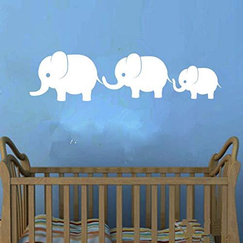 Niedliche Elefanten Familie Wand Vinyl Aufkleber Aufkleber Elefanten Baby Mädchen Jungen Kinderzimmer Wandkunst Kinder Zimmer Dschungel Thema Dekor (Zimmer Baby Dschungel-thema)