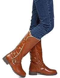 Gracosy Bottes Hautes Fourrure Femmes, Chaussures Plates Ville Fourrées en  Cuir Synthétique à Talons Plats Bottines de Neige Mi Mollet… da7a8a34b042