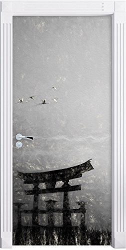 Stil.Zeit Möbel Alter Samurai-Meister vor Horizont Kunst Kohle Effekt als Türtapete, Format: 200x90cm, Türbild, Türaufkleber, Tür Deko, Türsticker -