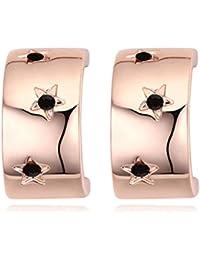 NEVI Czech Crystals Rose Gold Plated Stud Earrings For Women & Girls