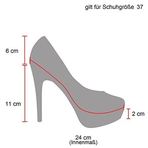Elegante Damen High Heels Spitze Pumps Lack Metallic Stiletto Samt Glitzer Nieten Abend Business Schuhe 47911 Schwarz 39 Flandell