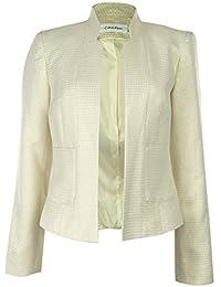 Calvin Klein Women's Metallic Houndstooth Blazer Jacket White/Gold