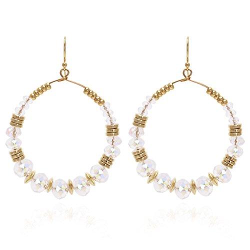 Bonaluna Damen Boho Chic Round Hoop Ohrringe Ohrhänger Gold-Kristall Crystal Pom Poms