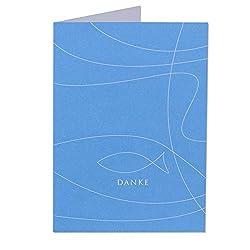 Dankeskarten 'Fisch' Blau - zur Kommunion, Konfirmation oder Taufe - zum Bedrucken