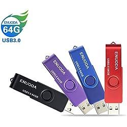 Lot de 4 Clé USB 64 Go ENUODA USB 3.0 Flash Drive Stockage Rotation Disque Mémoire Stick (Mixte Couleur:Rouge Noir Bleu Violet)