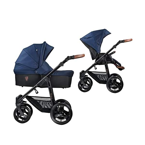 Venicci Gusto 2-in-1 Travel System - Navy - with Carrycot + Changing Bag + Footmuff + Raincover + Mosquito Net + 5-Point Harness and UV 50+ Fabric + Cup Holder  2-in-1 Pram and Pushchair with custom travel options Suitable for your baby from birth until approximately 36 months 5-point harness to enhance the safety of your child 1