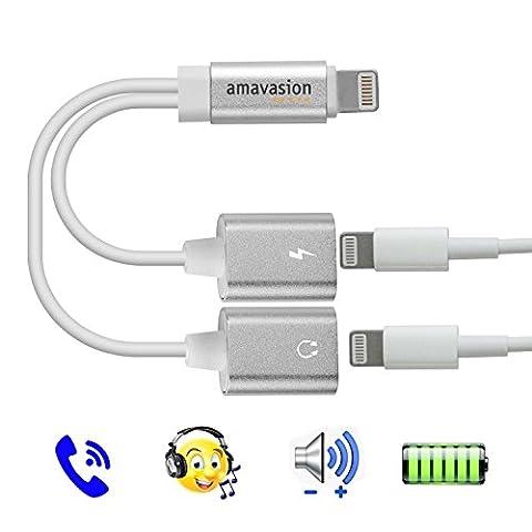 Lightning Audio Adaptateur chargeur, Amavasion double ports Lightning pour Iphone7, 7Plus iOS 10.3avec commandes musicales, chargeur et téléphone et communication.