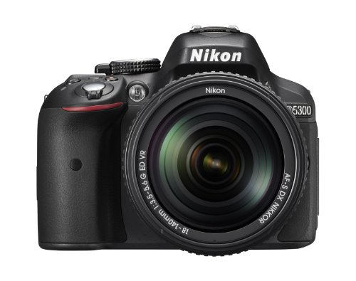 "Nikon D5300 - Cámara réflex digital de 24.2 Mp (pantalla 3.2"", estabilizador óptico, vídeo Full HD, GPS), color negro - kit con objetivo AF-S DX 18-140mm VR"
