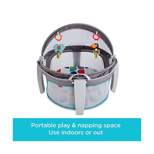 Fisher-Price FWX16 On-The-Go Baby Dome, New-Born Baby Cot or Travel Bassinet, Suitable from Birth Fisher-Price  two-in-one, play space and napping spot   Can be used indoors or out    Canopy protects against the sun and bugs  2