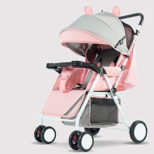 Cochecito De Bebé Ultraligero Conveniente Plegable Puede Sentarse con Una Placa DE 0-3 Años Canasta Grande para Dormir Carrito De Bebé De Cuatro Ruedas,Pink