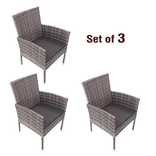 Outdoor Patio Möbel Stuhl Set Outdoor Platzsparende Rattan Stühle Patio Möbel Sets Gepolsterte Sitz- und Rückenpartie Conversation Set Stühle 3er Set -
