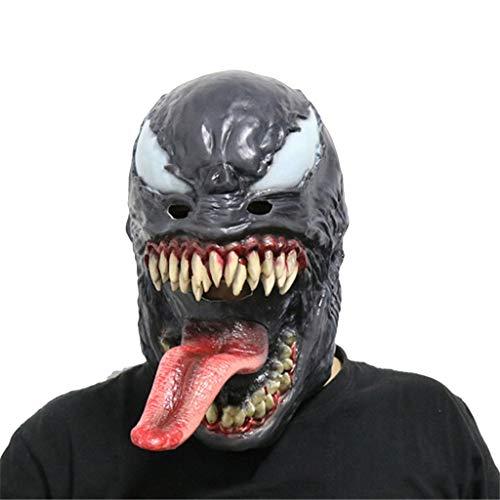 QWEASZER Marvel Avengers Black Spider-Man Gift Maske Cosplay Maskerade Helm Halloween Maske Erwachsene, Spiderman Hood Helm Comics Hero Kopfbedeckung Kostüm,Venom-OneSize (Spiderman Black Kostüm Comic)