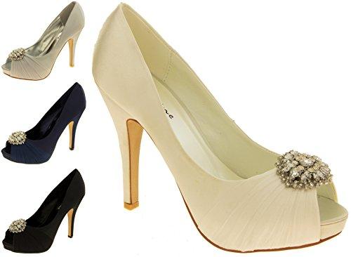 Femme SABATINE Satin diamante cluster nuptiale chaussures de mariage