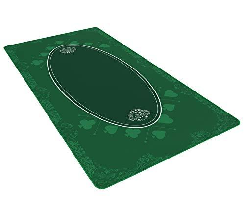 Bullets Playing Cards Universal Tischdecke für Brettspiele, Kartenspiele und Gesellschaftsspiele - Unterlage grün in 180 x 90 cm für den eigenen Spieletisch - Deluxe Spieltuch - Spielteppich