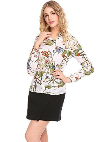 L'AMORE Damen Chiffon Bluse Elegant Turn-Down-Kragen Blumen Langarmshirt PAT