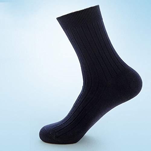 AYDWZ5 Pairs Gesundheit Reine Baumwolle Herrensocken Sommer Herbst Atmungsaktive Weiche Mann Socken Lässige Mode Männliche Socke Deosorant Sox CrewC Navy -
