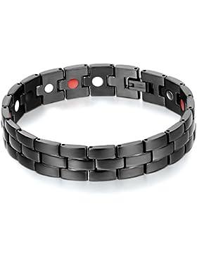 JewelryWe Schmuck magnetische Armband für Männer , Doppelreihe Herren Armband Armreif, Starken Magnet Edelstahl...