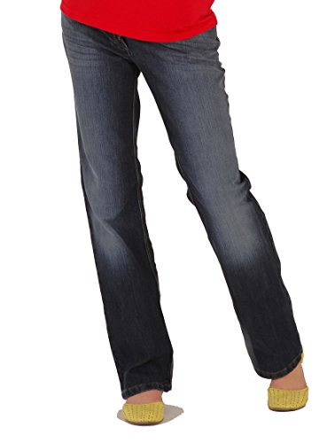 Christoff Damen Umstandshose Schwangerschaftsjeans Five-Pocket-Jeans - gerades Bein Jersey-Bauchband - verstellbare Taille - 409/89 - blau - 34 / L32 - Pocket Maternity Jeans Boot Cut