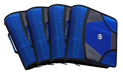 case-it King große RV Tab 4-Zoll D-Ring Zipper Binder mit 5-tab Datei Ordner, blau, Fall von 4(d-186-c-blu) (Blau D Ring Binder)