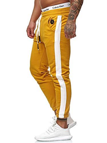 OneRedox Herren Jogging Hose Jogger Streetwear Sporthose Modell 1211 (S (Fällt eine Nummer Kleiner aus), Ocker)