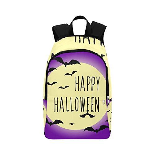 Happy Halloween-Karte Vorlage Abstract Halloween Casual Daypack Reisetasche College School Rucksack für Männer und Frauen (Halloween-karte, Farbe Happy)
