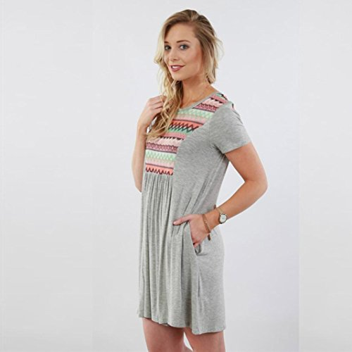 Manadlian-Robes de Plage Robe Ete Femme Mini Robe Mousseline T-Shirt Tops Haut Blouse Gris