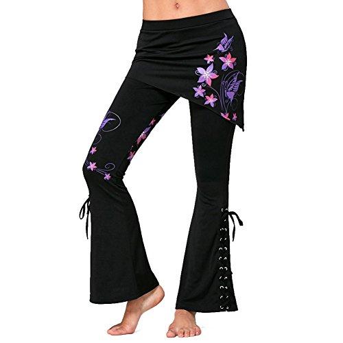 Pantalones Tallas Grandes Pantalones para Mujer Jeggings Góticos Pantalones Mini Faldas Pantalones Cintura Alta Leggings Negros Vendaje Faldas Asimétricas Pantalones Acampanados 5XL Mxssi